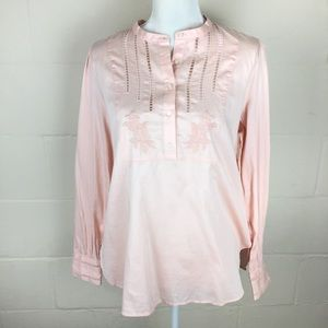 NWT loft floral embroidered pink chambray top M